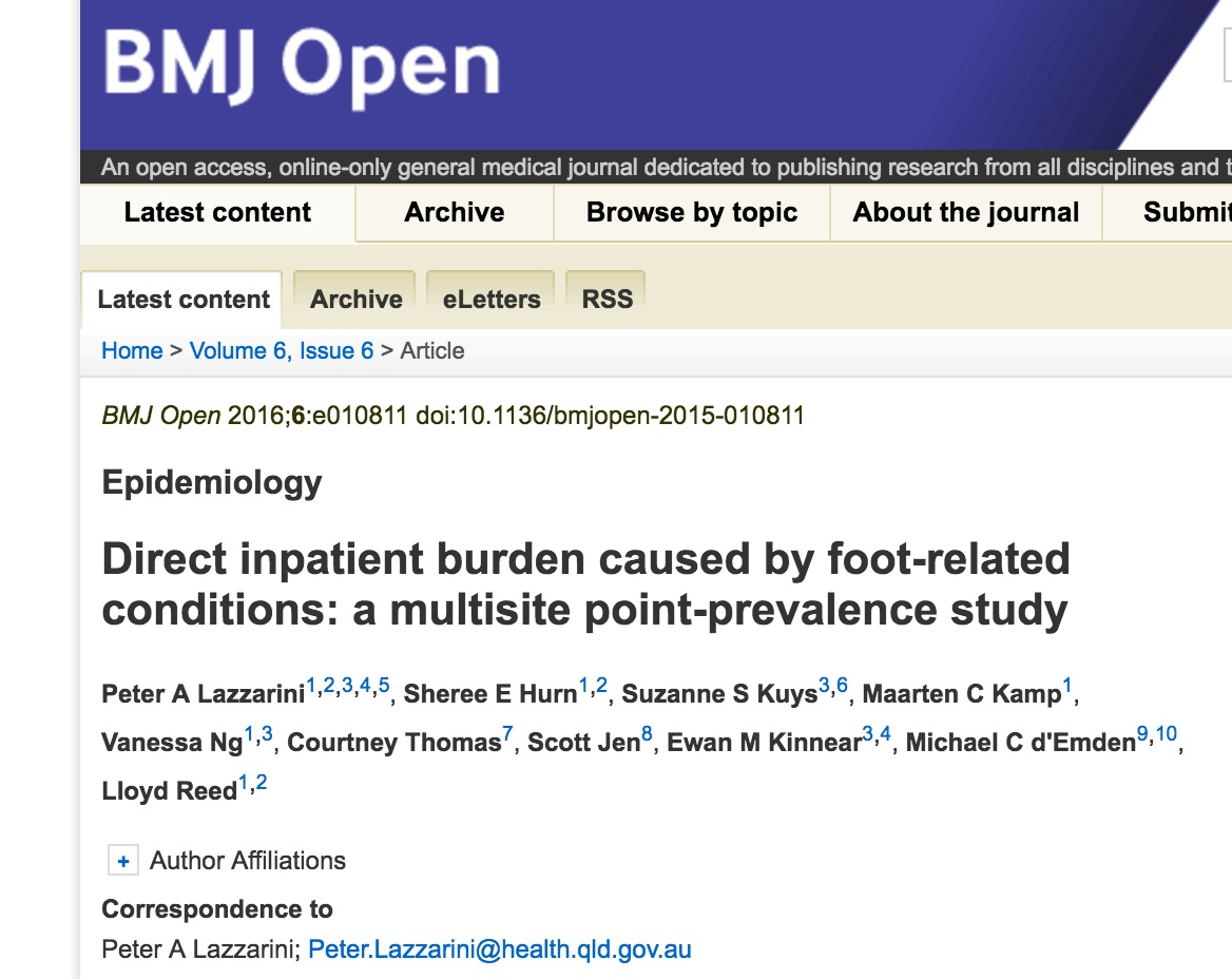 Direct inpatient burden caused by foot-related conditions